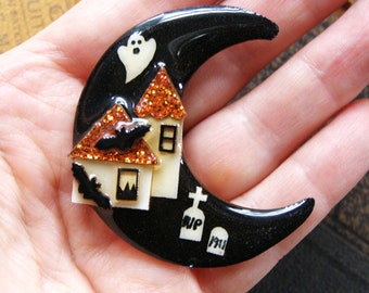 vintage halloween house pin by lucinda moon graveyard house pins lucinda ghost black orange glitter halloween jewelry pin brooch decoration