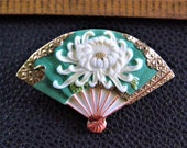 vintage toshikane porcelain fan pin toshikane chrysanthemum lotus flower fan marked japan pin brooch not button toshikane jewelry gift her