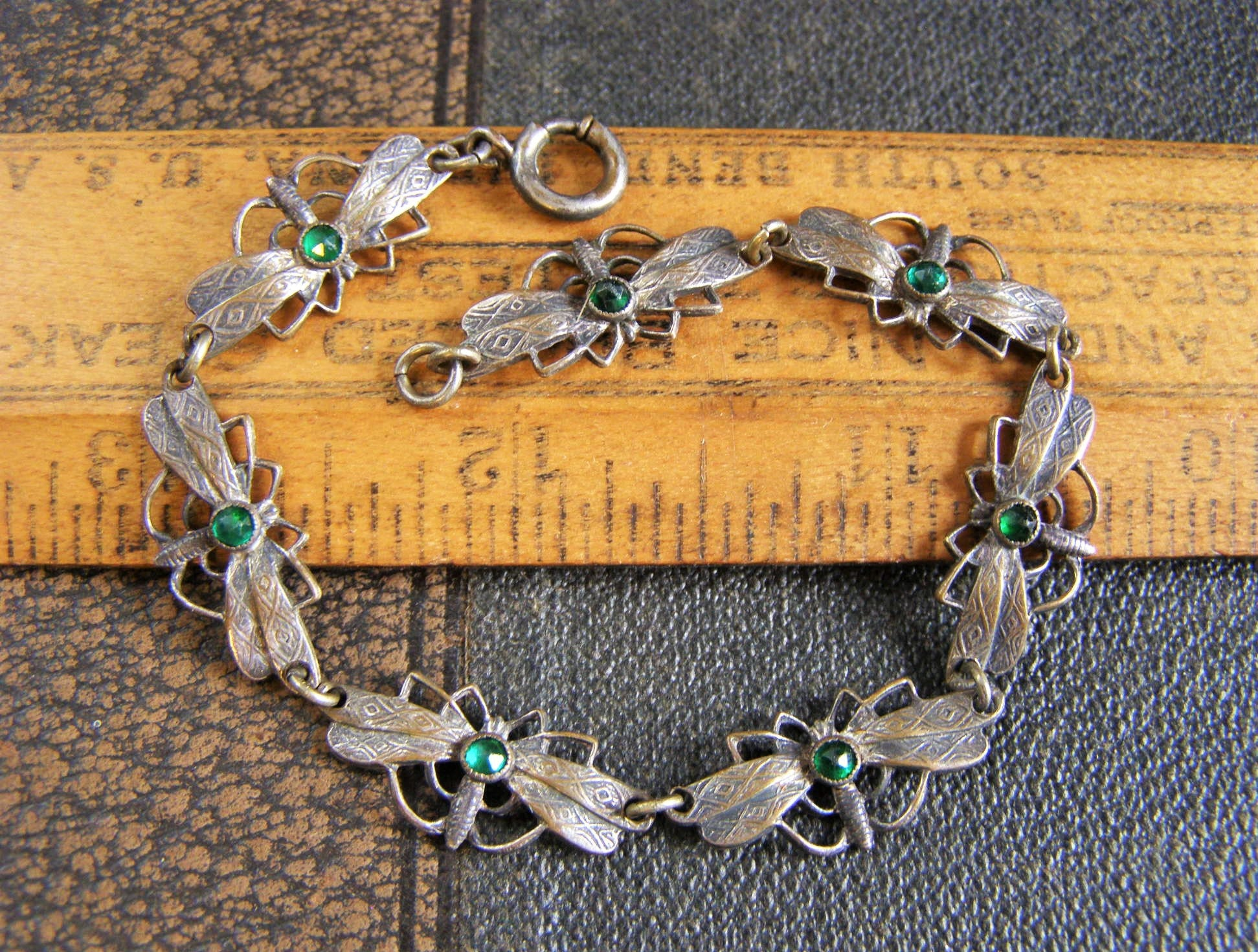 Art Nouveau Dragonfly Bracelet RARE vintage antique silver brass Dragonfly Green bohemian glass linked bracelet insect bug jewelry