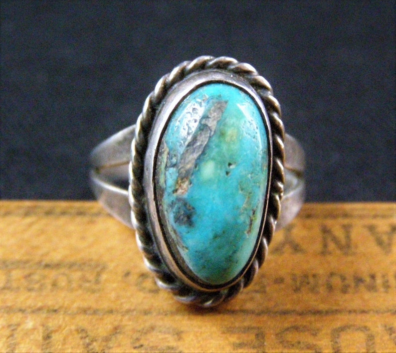 vintage old pawn navajo turquoise sterling ring silver turquoise native american jewelry size 3 pinky ring southwestern jewelry ring him her