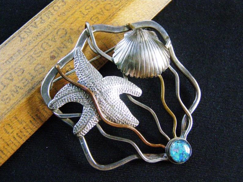vintage sterling starfish modernist opal pin pendant silver copper brass sterling mixed metal beach sea shell theme mosaic opal pin pendant