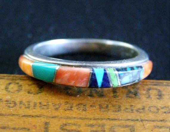 Lapis and Spiny Oyster Mother of Pearl Turquoise Vintage 1970/'s Multi-Stone Inlay Navajo Cuff with Opal