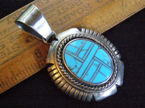 vintage navajo turquoise sterling pendant turquois