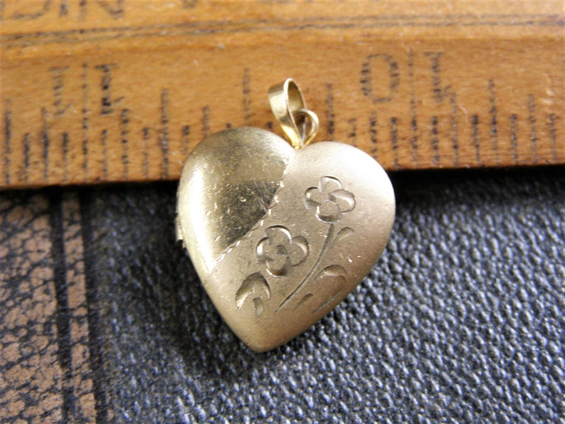 14k Yellow Gold Heart Locket Flowers Necklace Pendant Charm Fine Jewelry Gifts For Women For Her