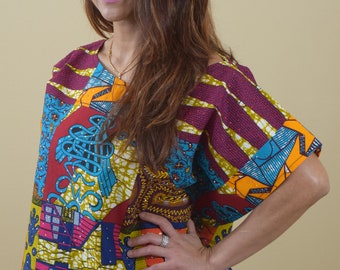 e667578a68 Loose-fitting Butterfly top in patchwork ankara fabric