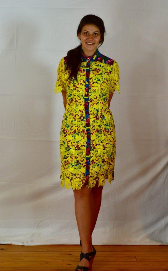 Robe chemise africaine dentelle & Ankara Pagne Manches | Etsy