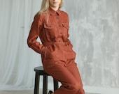 Linen jumpsuit with belt, Redwood linen jumpsuit with long sleeves, Long buttoned linen jumpsuit, Trendiest linen boilersuit