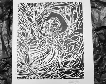 Portrait leafy art linocut illustration wallart