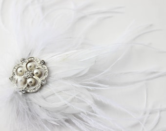 White Feathered Fascinator