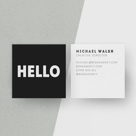 Maßgeschneiderte Quadratische Visitenkarten Minimalistische Schwarz Weiß Telefonkarten Hallo Personalisierte Name Karte Modernes Büro Briefpapier