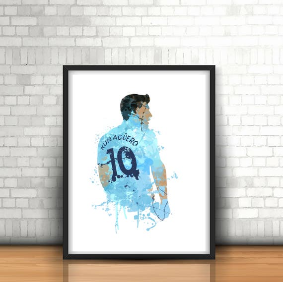 Sergio Aguero /'Legend/' Manchester City Framed Canvas Print