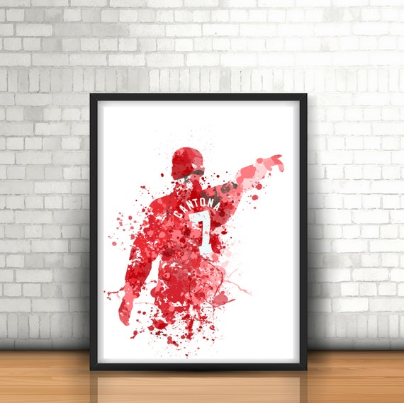 Football Eric Cantona Manchester United Picture On Framed Canvas Wall Art Decor