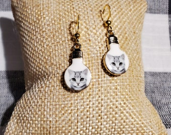 Whimsical Cat Earrings White Cat Cute Cat in a Lightbulb Earrings For Kids of all Ages Adorable Sweet Cuteness Overload