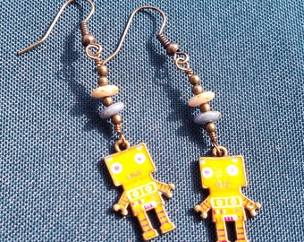 Square Yellow Robot Earrings