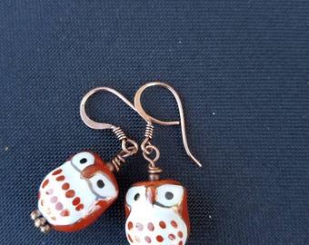 Little brown owl earrings