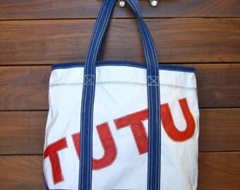 Custom DaySailer/ ZIPPER - Tote, Personalized Bag, Repurposed Sail Bag, Handbags, Beach Bag, Wedding Bag
