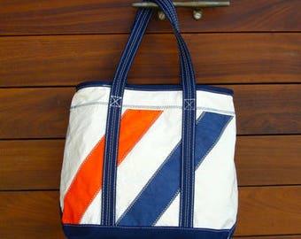 Orange & Navy Angled Striped DaySailer Bag