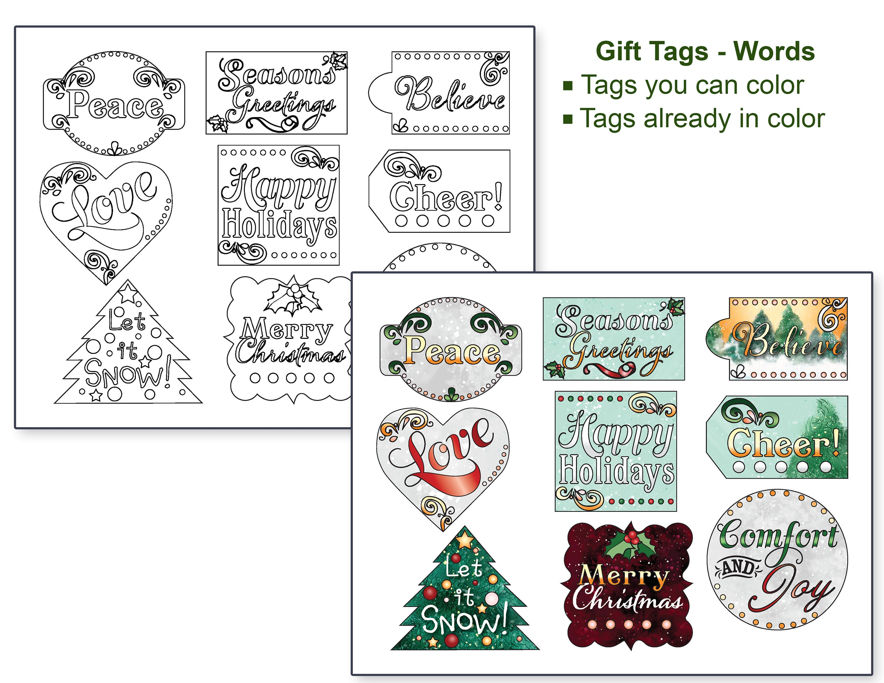 christmas gift tags and coloring