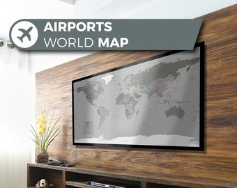 Airport World Map, a unique and customised map with all major airports in the World.
