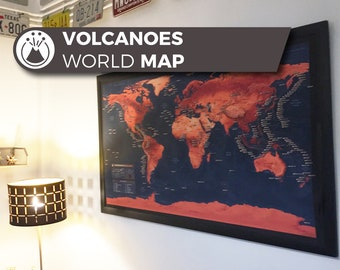 Volcano World Map, a unique and customised map with all major volcanoes in the World.