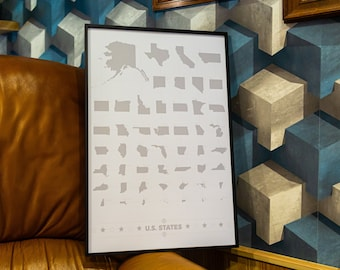 Art-Deco poster with US States Ranked by size