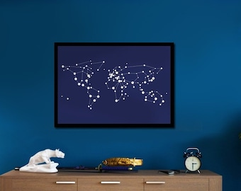 Artistic poster with the World looking like Constellations