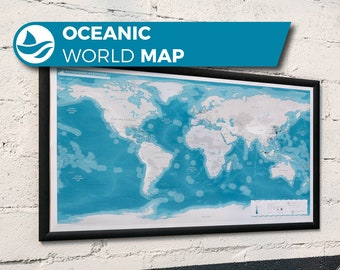 Oceanic World Map, a relaxing world map based on the Ocean, ports, navigation and sailing.