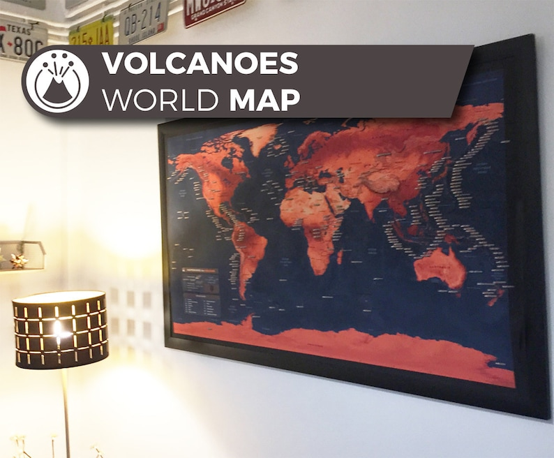 Volcano World Map a unique and customised map with all major image 0