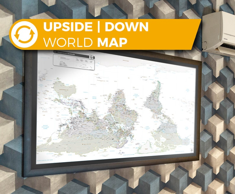 Upside down map with a South-up orientation Reversed Map image 0