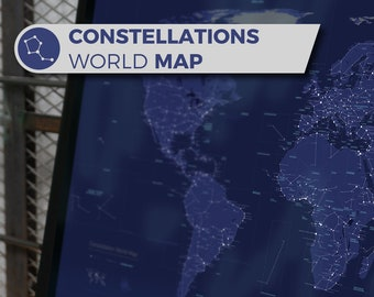Artistic Constellation World Map, a geographic map inspired by Star charts and Sky Maps