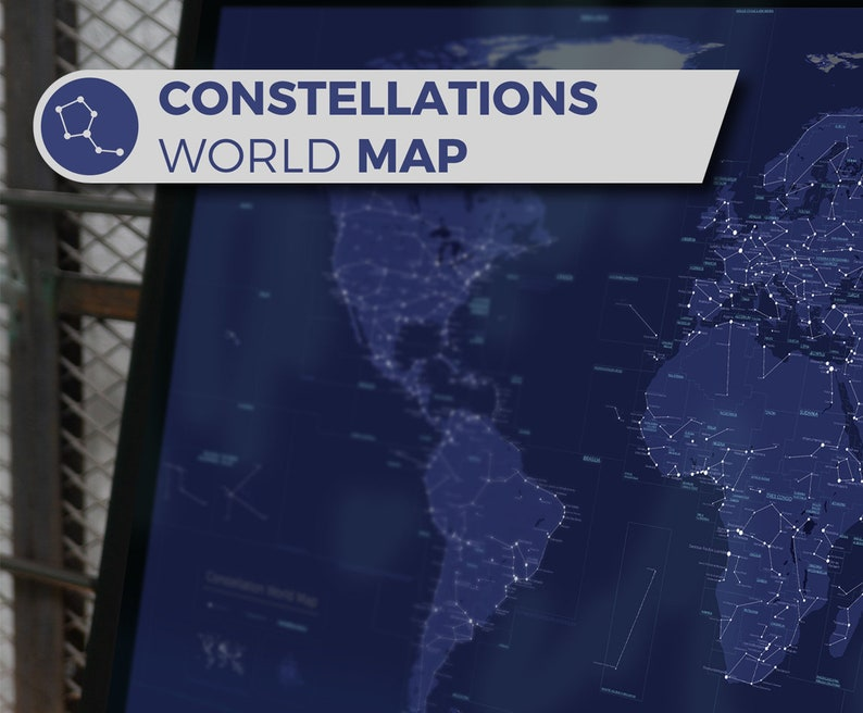 Artistic Constellation World Map a geographic map inspired by image 0