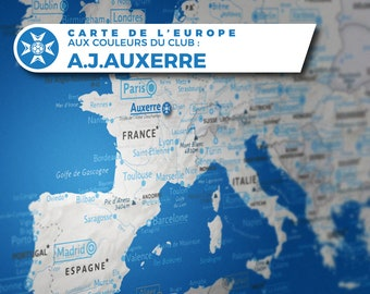 Aesthetic map of Europe with A.J.Auxerre colours