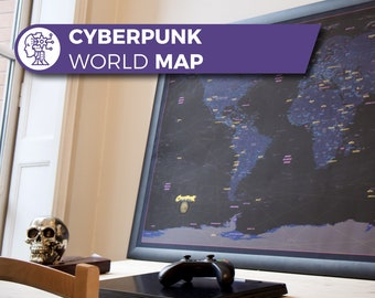 High Quality Cyberpunk Map  Map, Cyberpunk World Map, Blade Runner Art, Cyberpunk map, Cyberpunk Decoration, Cyberpunk 2020, Cyberpunk 2077
