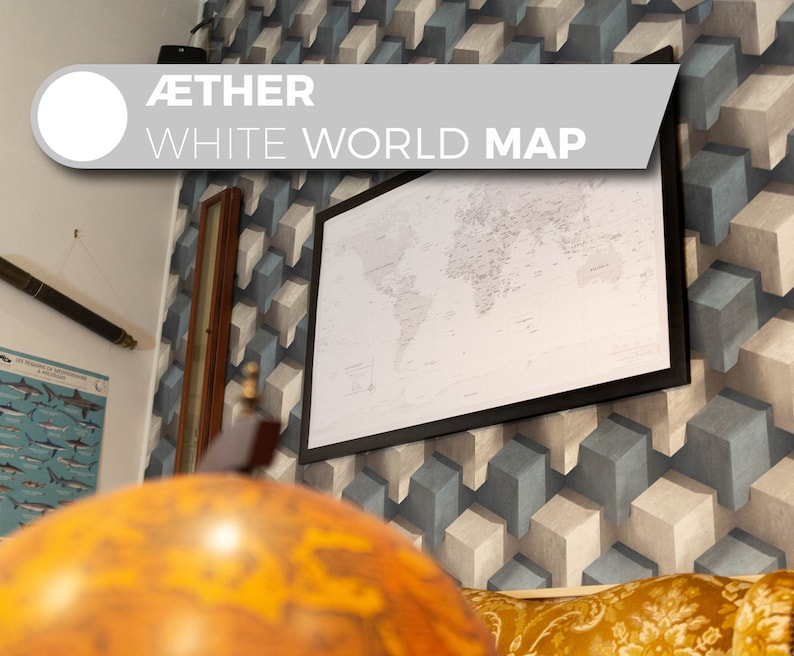 Æther White Map Customizable All White artistic world map image 0
