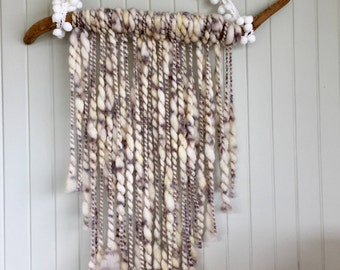 Gray Yarn-Driftwood With White PomPoms Yarn Wall Hanging