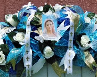 Religious Headstone Flowers, Headstone Saddle Flowers, Headstone Saddle, Christian Headstone Saddle, Cemetery Flowers, Grave Decoration
