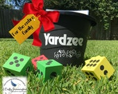 Yardzee Farkle Outdoor Game, Dice Game, Yahtzee with bucket, Yardzee Scorecard, Christmas gift for entire family, kid 39 s stocking stuffer