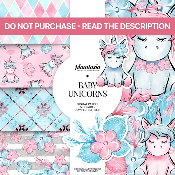 Baby Unicorn Freebie Free Cliparts Free Digital Papers Etsy