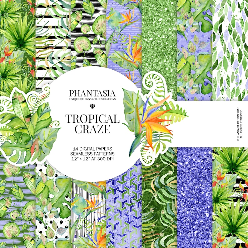 Planner Stickers Tropical Planner Tropical Leaves Summer Planner Holiday Digital Papers Tropical Digital Paper Tropical Stickers