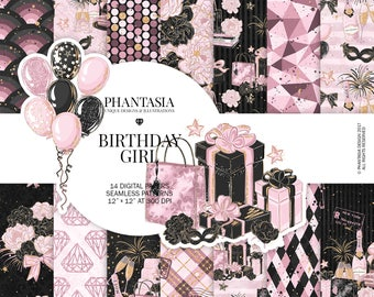 Birthday Watercolor Digital Paper Pack, Fashion Illustration, Party Graphics, Gifts, Balloons, Champagne, Pink Floral, Scrapbooking Paper