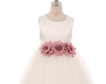 fbe3c6b91 Classic Satin and Tulle Flower Girl Dress with Three Flowers