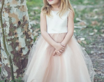 07516bd083 Classic Satin and Tulle Flower Girl Dress