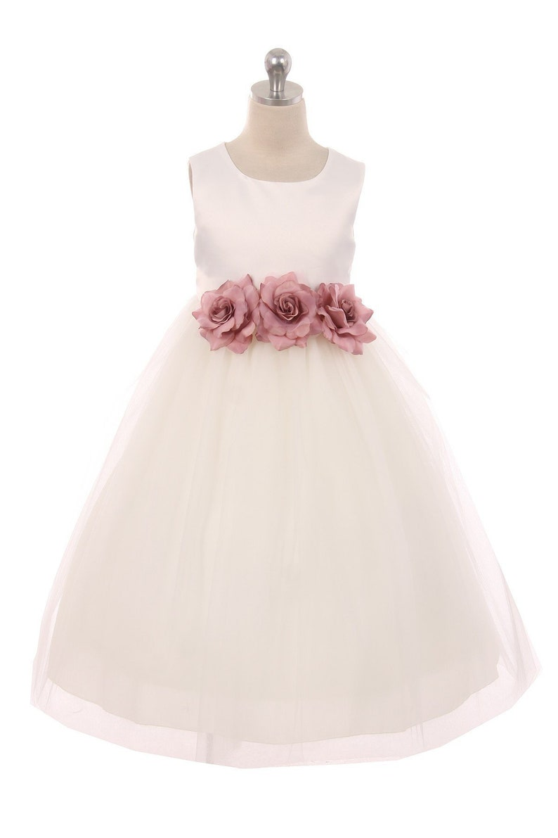 32f3c0358bd Classic Satin and Tulle Flower Girl Dress with Three Flowers
