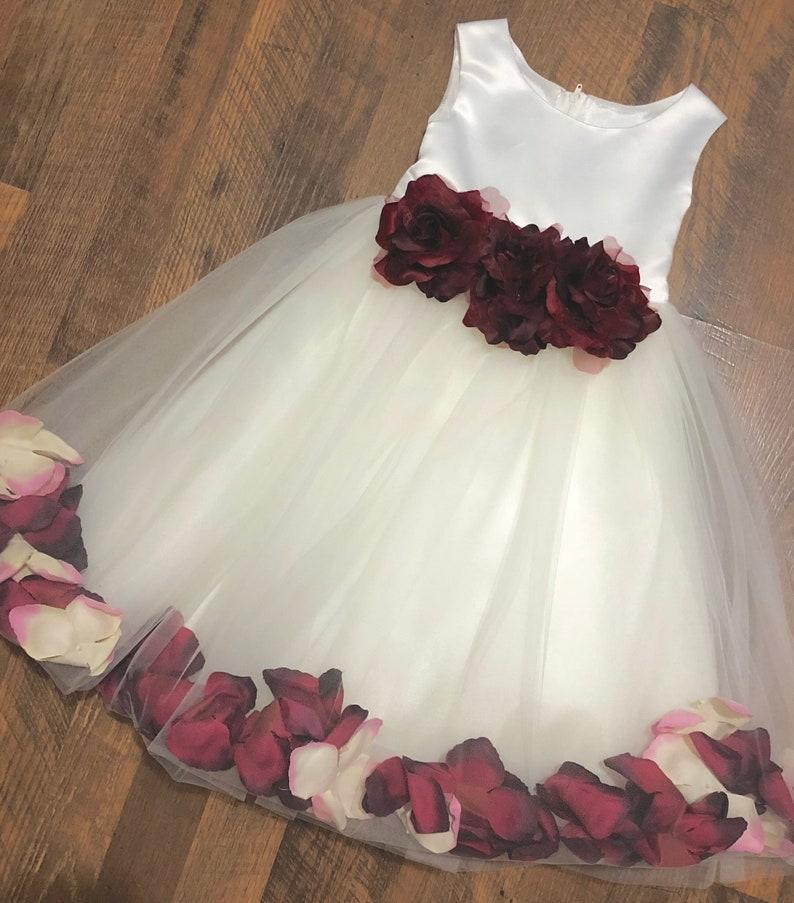 Classic Satin Petal Flower Girl Dress with Three Flowers