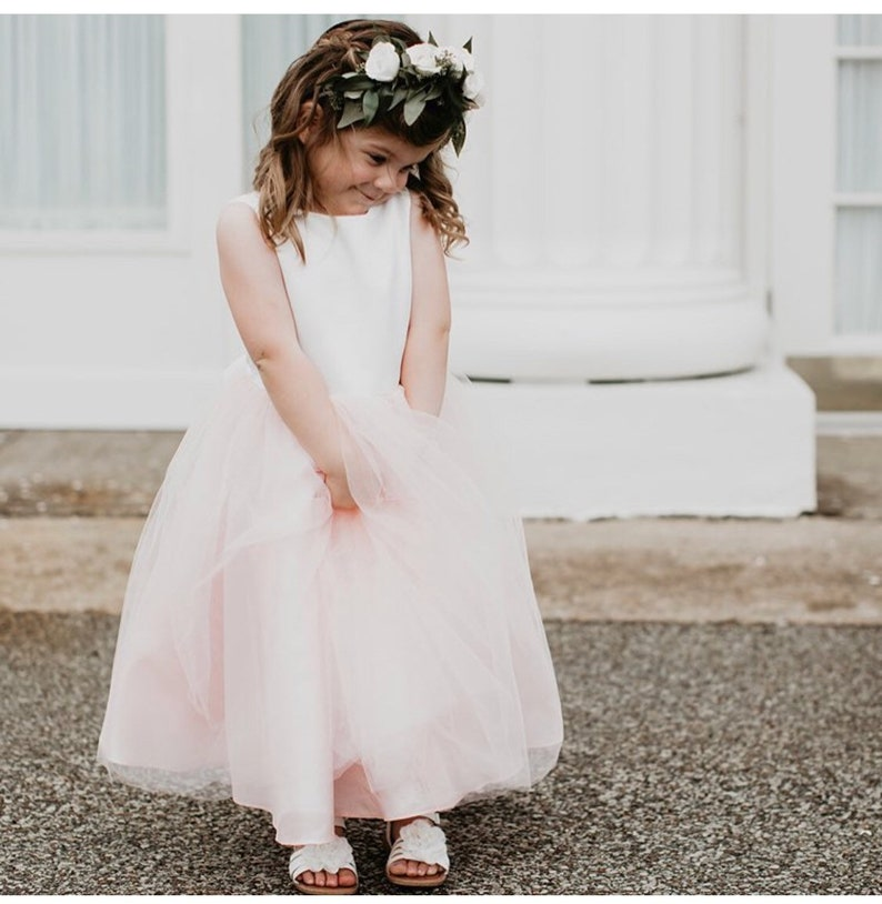 Classic Satin and Tulle Flower Girl Dress Ivory/Blush