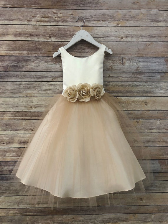 Tulle overlay flower girl dress with pin on silk flowers etsy image 0 mightylinksfo