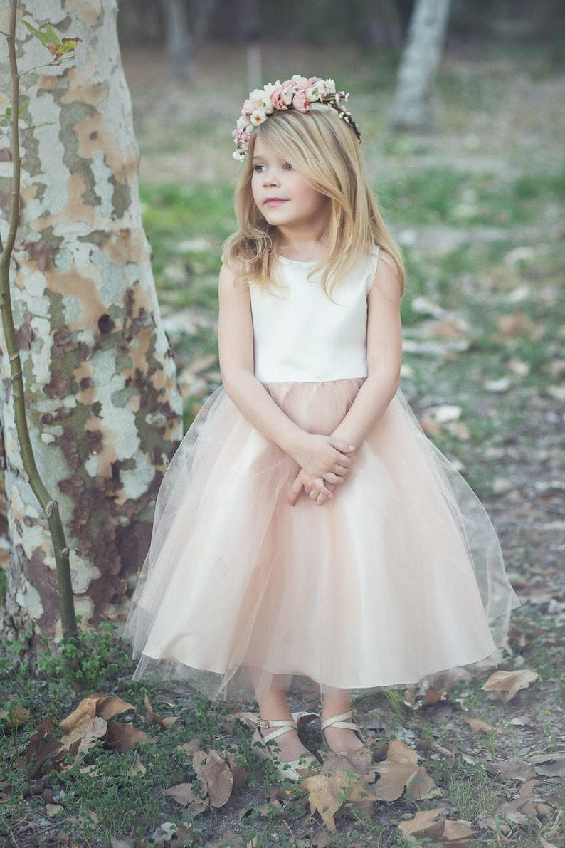 673a611c951 Classic Satin and Tulle Flower Girl Dress