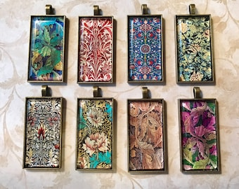 "Beautiful Rectangular Glass & Bezel Pendants (1""x2"") with William Morris inspired images, including choice of necklace chain length"