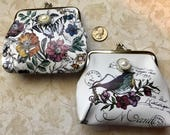 Change Coin purse, floral, bird, butterfly including simulated pearl crystal snap button