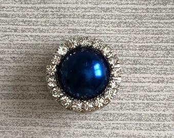 Beautiful Deep Blue Pearl, Clear Rhinestone 18-20mm Snap Charm